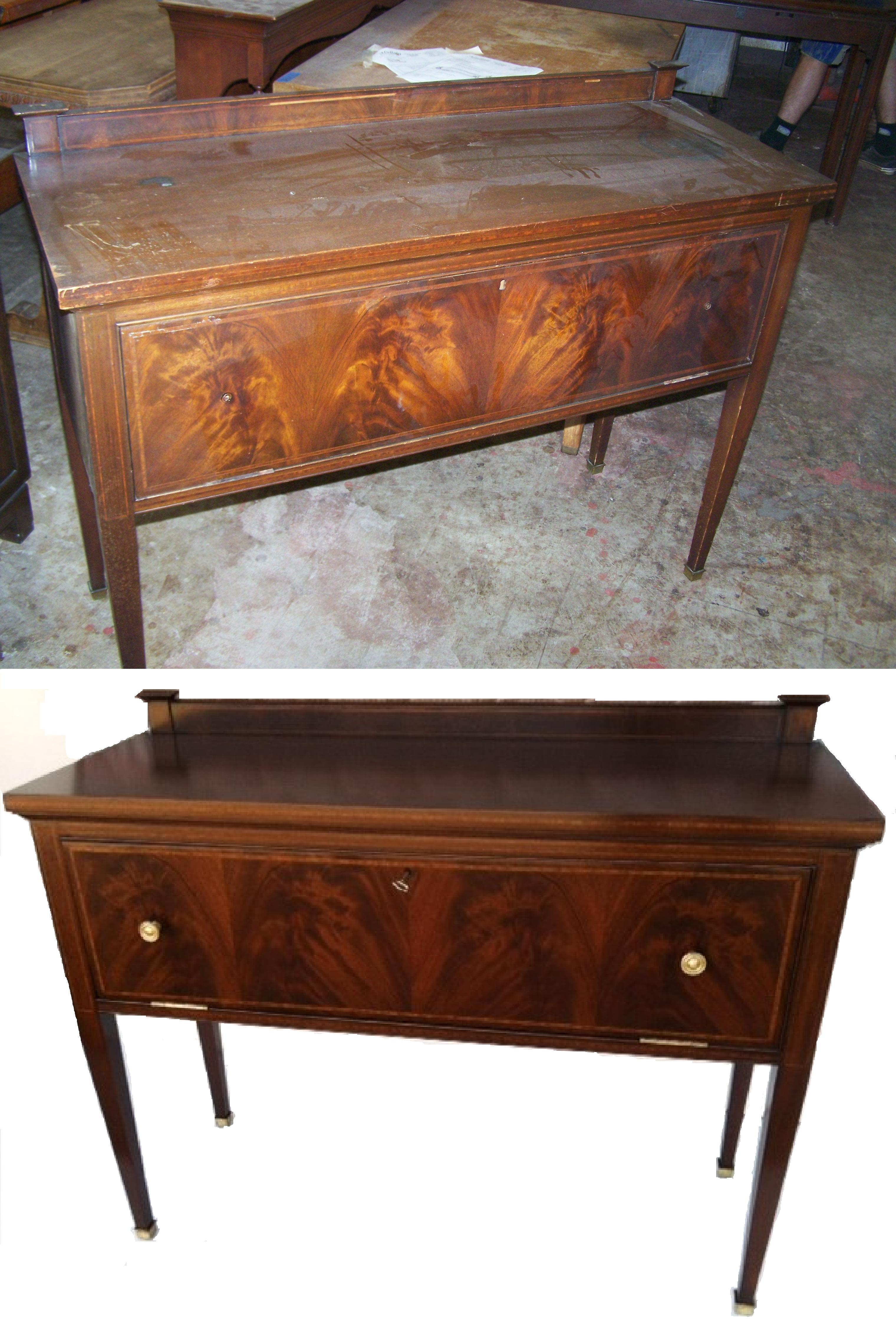 Antique Sideboard We've Repaired Loose And Missing Inlay The Finish Was Restored To Customers Desired Color And Sheen