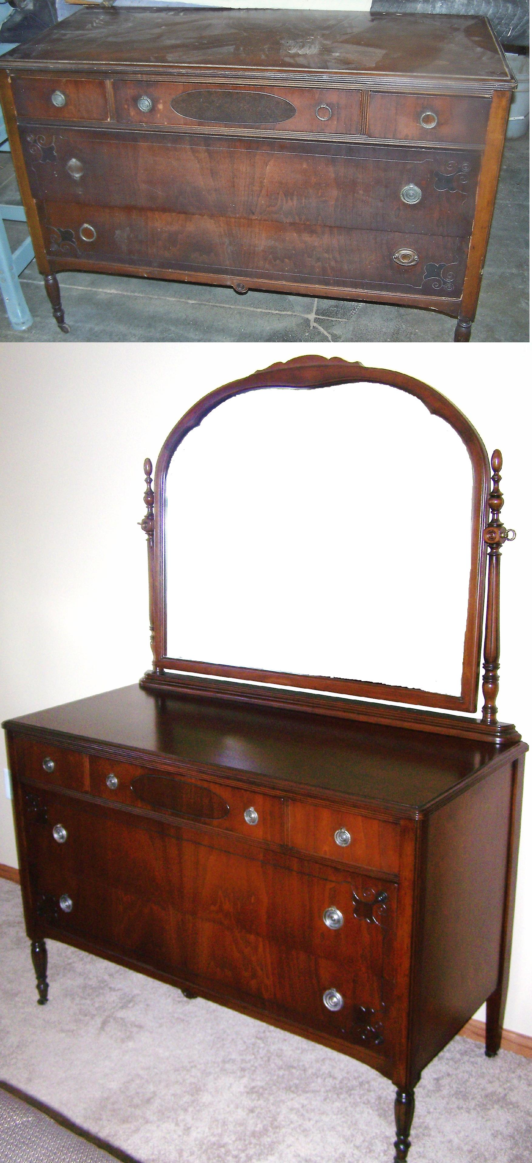 Dresser With Mirror We Completely Restored To The Original Color And Sheen As The Customer Desired The Missing Pulls And Back Plates Were Duplicated And Finished To Blend With The Originals