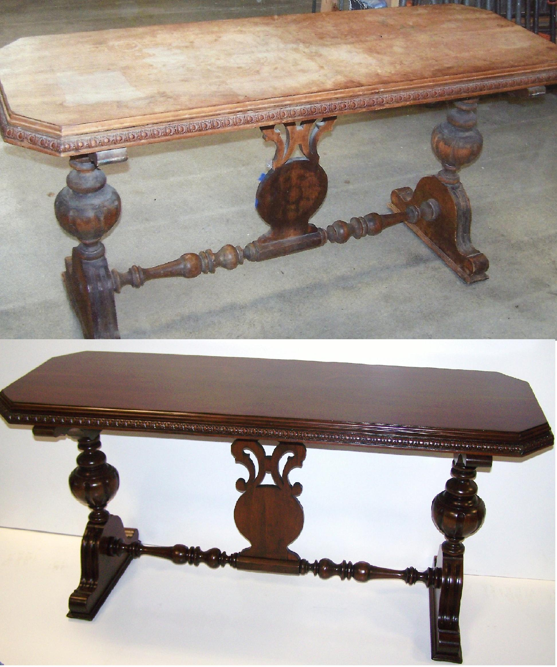 Sofa Table This Top Was Heavily Water Damaged We Restored The Entire Piece To Fit The Customers Decor