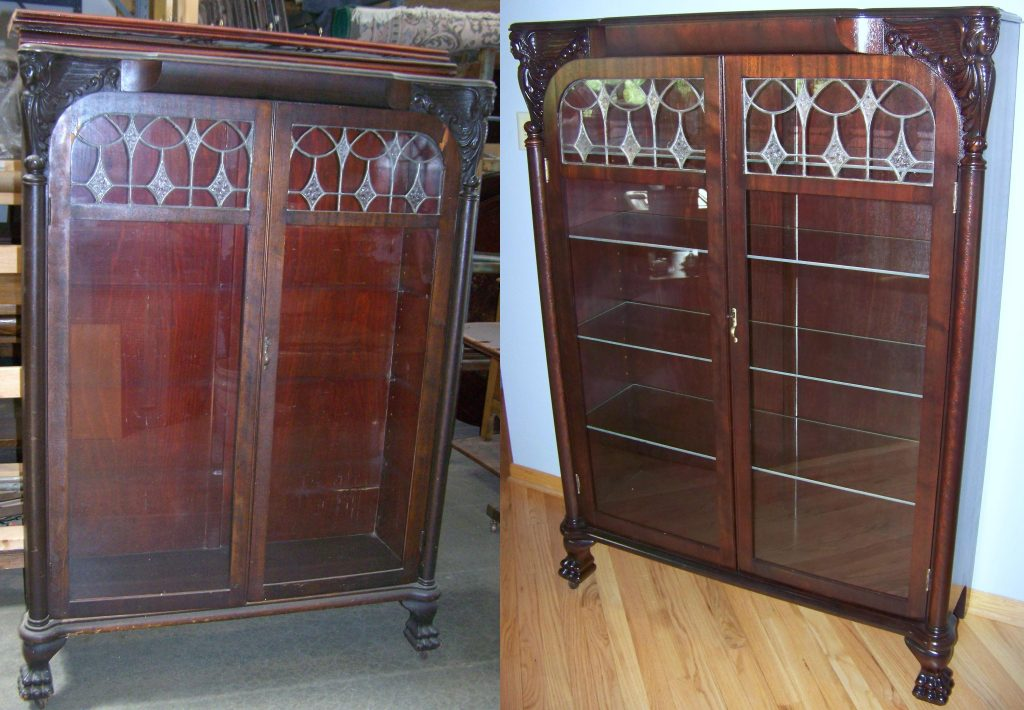 Antique Cabinet We Were Chosen By A Hartland Customer To Restore Their Cabinet We Repaired All Loose Veneer, Furnished New Glass Shelves, Installed A Light System On The Interior, And Custom Finished The Cabinet To Fit Their Decor