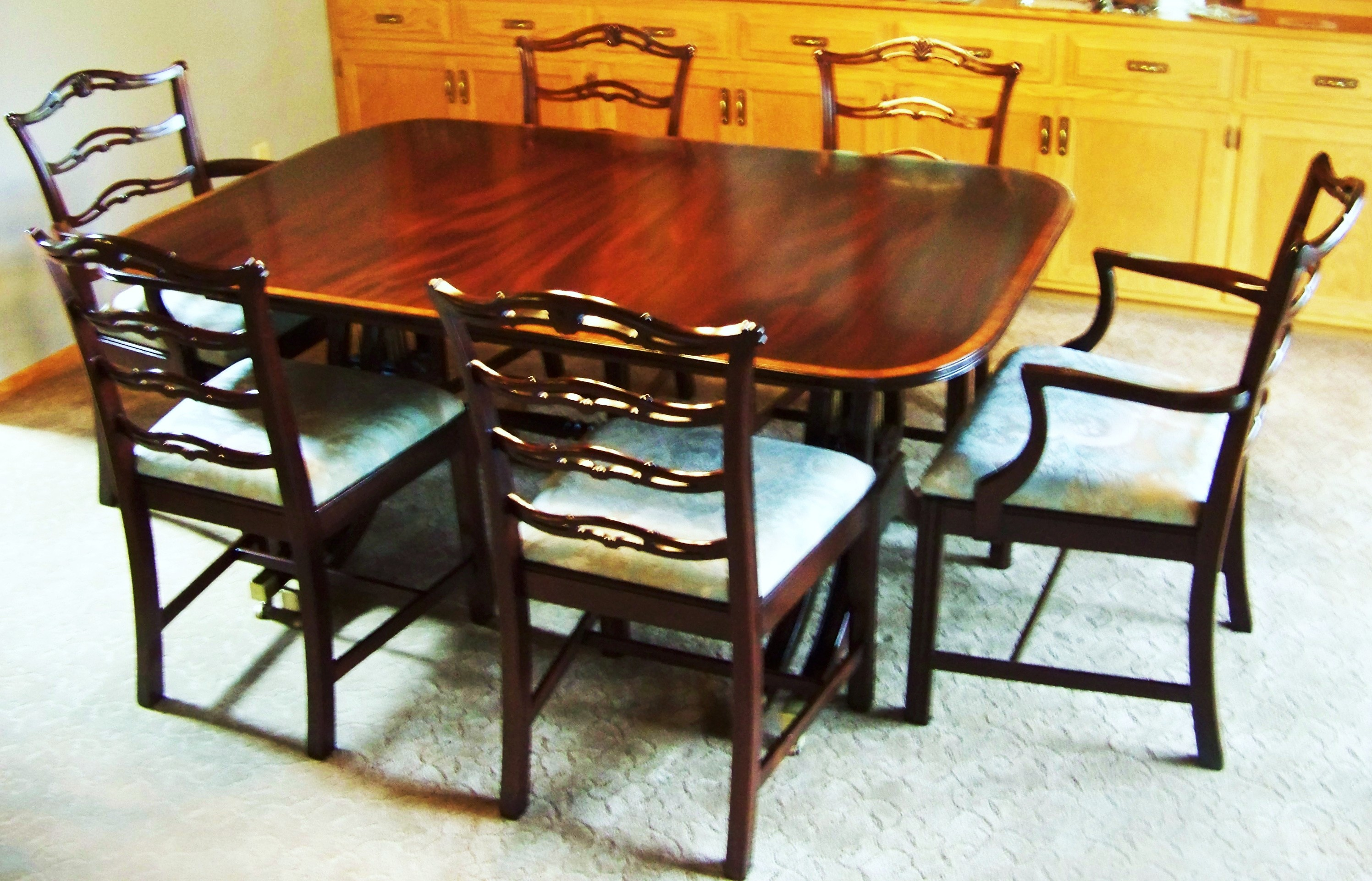 Dining Room Table And Chairs We Were Chosen By A Hartland Customer To Restore Their Dining Room Set We Reglued All The Chairs, Reupholstered The Seats, And Custom Finished The Set To Fit Their Decor