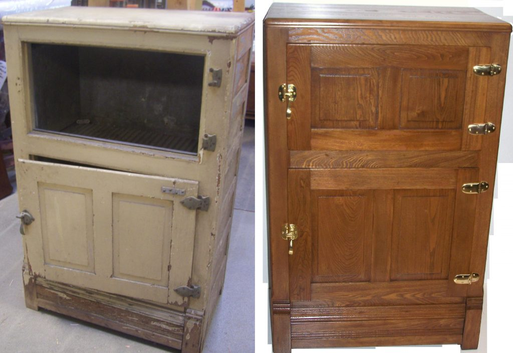 Ice Box We Were Chosen By A Waukesha Customer To Restore Their Painted Ice Box We Repaired The Doors To Function Properly Furnished And Installed Replacement Latches And Hinges The Ice Box Then Was Custom Finished To A Natural Wood Tone To Fit Their Decor