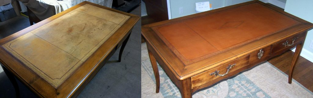 Leather Top Desk We Were Chosen By A West Bend Customer To Restore Their Desk The Leather Top Was Badly Worn And Discolored On This Antique Desk We Preserved The Leather With Embossing And Restored It To The Original Color