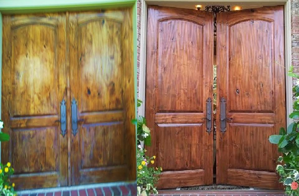 Residence Doors We Were Chosen By A Pewaukee Customer To Restore Their Hand Hewn Double Doors The Doors Had Weather And Moisture Damage