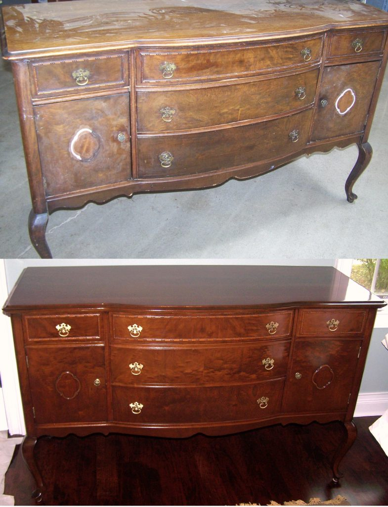 Sideboard A Mequon Customer Chose Us To Restore Their Sideboard It Was Missing Many Areas Of Veneer And Decorative Carved Trim On The Doors We Repaired And Restored A Custom Color And Sheen To Fit The Customers Decor