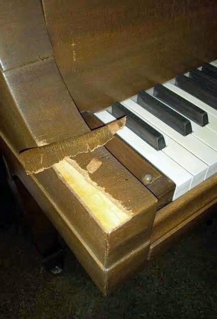 Piano Veneer Repair Before